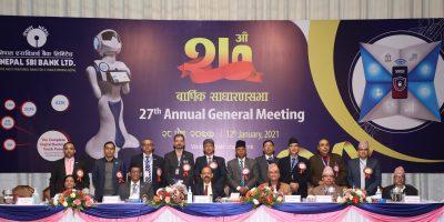 नेपाल एसबिआई बैंकको २७औँ वार्षिक साधारणसभा सम्पन्न शेयरधनीलाई लाभाशं पारित